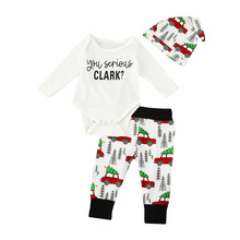 Retail Free shipping 2018 INS children's wear Christmas suit baby suit, three piece car printed Christmas set,(China)
