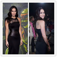 Black Color Celebrity Fashion Dress HL Bandage Dress PU Leather Sexy Bodycon Dress High Quality