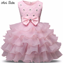 Aini Babe Girl Dress Summer 0-8 Years Floral Baby Girls Dress Vestidos 9 Colors Wedding Party Baby Clothes Birthdays Clothing