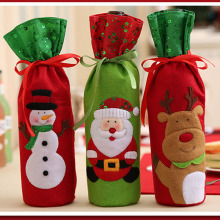 1Pcs Christmas Wine Bottle Cover Cute Snowmen Santa Claus Bottle Red Cover Bag for Festival Christmas Table Decoration 2017ing