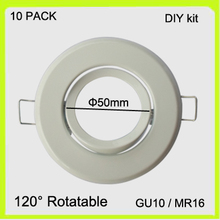 DIY easy install 10 PACK GU10 holder MR16 frame GU5.3 bracket metal white chrome finish led spotlight round dia50mm