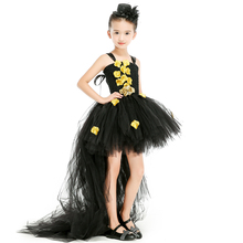 Black Gold Christmas Halloween Baby Girls Dresses Gold Petal Tutu Dress with Train Tulle Cosplay Girls Dress Kids Party Dresses(China)