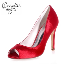 Creativesugar satin high heels concise peep open toe lady slip on dress shoes bridal wedding party prom cocktail red royal blue
