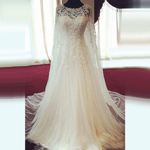 Custom Made Elegant Flow A Line Lace and Beading Crystal Wedding Dresses 2017 with Shawl Church Bride Gown abito da sposa XW10