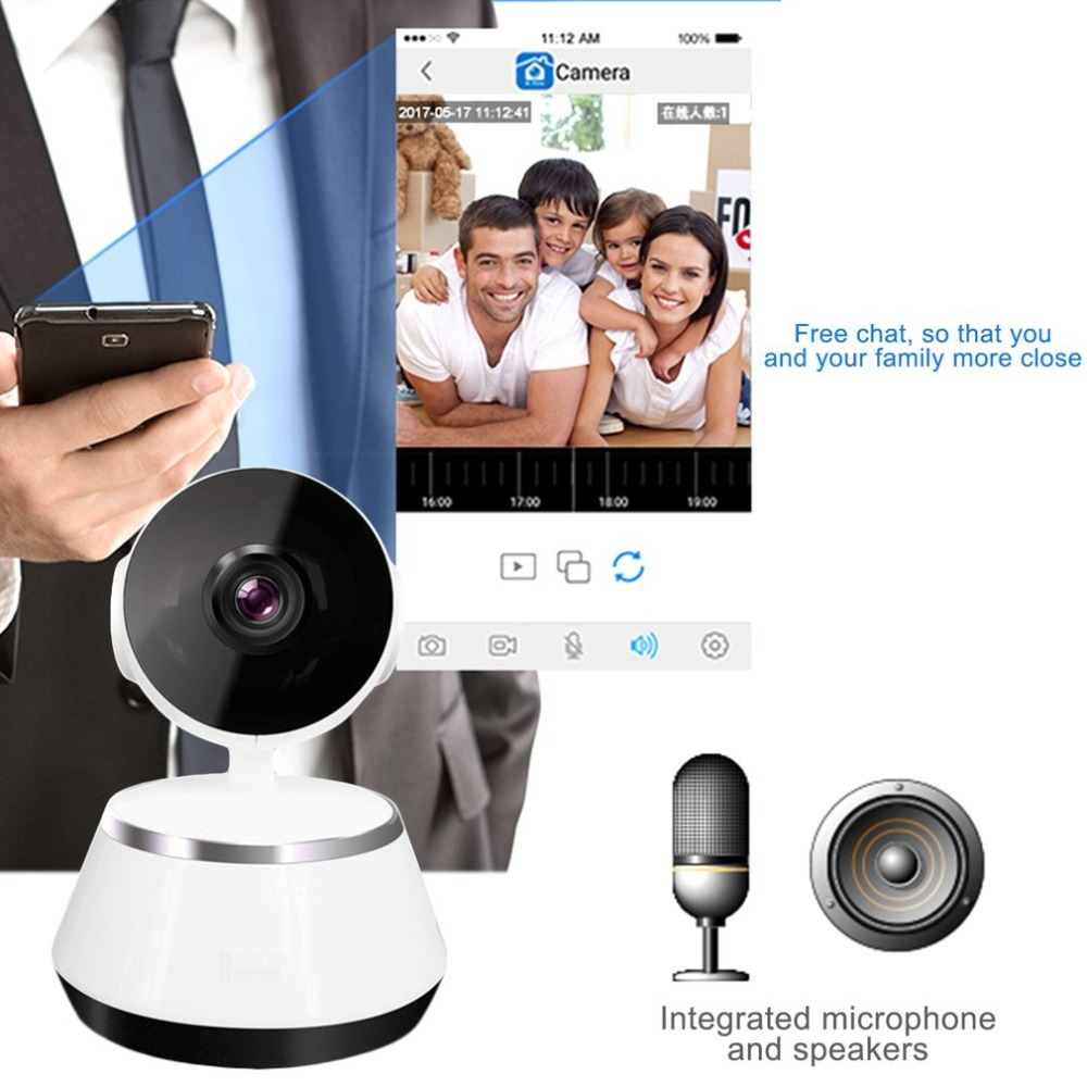 LESHP Home Security Monitor IP Camera HD Wireless WiFi Camera Surveillance IR Night Vision Baby Monitor With Mic Support TF Card<br>