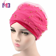 5PCS/lot Women Velvet Long Turban Headband Mesh Velvet Double Layer Beaded Hijab Scarf Turbante Extra Long Turban Tie Headwrap