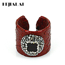 Vintage Pattern Python Leather Rings with Multi-stone Colorful Snakeskin Inlay Rhinestone Natural Gem Stone Masculino Jewelry