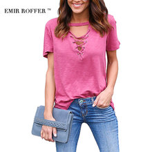 EMIR ROFFER 2017 Fashion Sexy V neck Lace Up Women's T-shirts Summer Casual Basic Tshirt Clothing Top Female Tee Shirt Femme