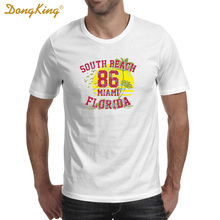 DongKing 2017 Summer SOUTH BEACH MIAMI FLORIDA T shirts Cotton Men White Tee Gifts for Him Her Regular Slim Fit for ladies(China)