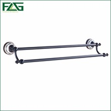 FLG Euro Style Bathroom Brass Towel Rack Wall Mounted Oil Rubbed Bronze White Painted Flower Porcelain Bath Towel Bar 60102(China)
