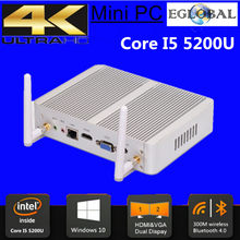 2018 Процессор EGlobal fanless мини-ПК Core i5 5200u/i7 5500Uu/i5 6200u Win10 minipc настольный компьютер 4 К HTPC minipc Nuc(China)