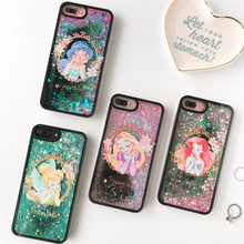 Fairy Tale Princess Glitter Stars Dynamic Liquid Quicksand Soft TPU Phone Back Cover Mermaid Cartoon Case For iPhone 6 6S 7 Plus(China)