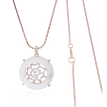 Good Quality 1PC Free Shipping 2014 Winter Holidays Lady Fashion Gold Chain Rose Flower Glass Crystal Big Round Pendant Necklace