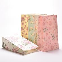 3PCS/lot Flower Print Kraft Paper Small Gift Bags Sandwich Bread Food Bags Party Wedding Favour 23x13cm