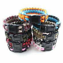 2017 Cheap Camping Parachute Cord Emergency Paracord Bracelet Survival Jewelry For Men Free Shipping