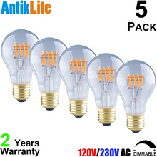 A60 E27 220/230/240 V/Volts AC Dimmable 3W/4W Incandescent Style Horizontal Torch Spiral LED Filament Antique Replica Light Bulb(China)