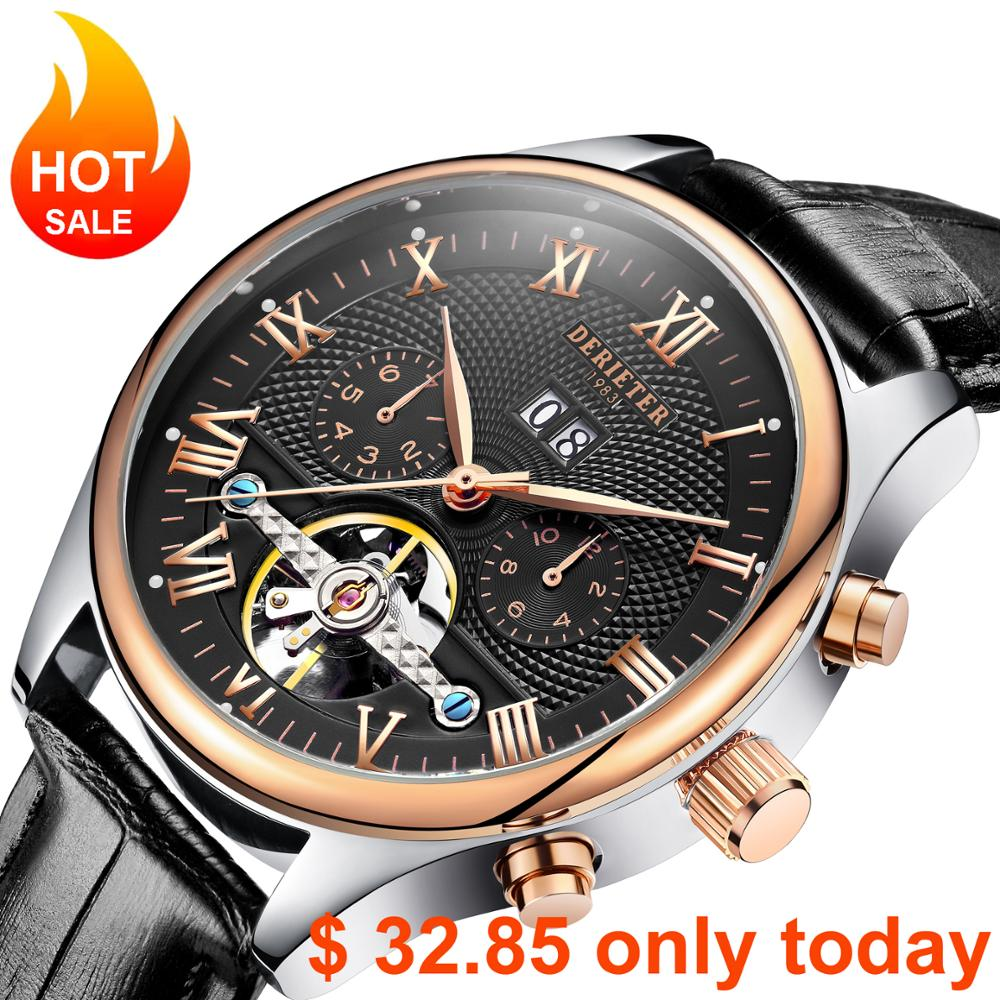 Derieter Classic Automatic Mechanical Skeleton Tourbillon Watch Men Rose Gold Leather Strap Mechanical Wrist Watches Reloj Hombr<br>