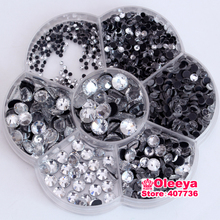 Mix Sizes Clear DMC HotFix Rhinestones Approx 2680pcs/Lot with flower box FlatBack Hot Fix For Iron on Motifs Transfer Y0019(China)