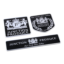 JP Junction Produce Black Thin Aluminum Drawing Car Styling Emblem Badge Cool 3D Sticker Logo for VIP Car Long Square / Shield