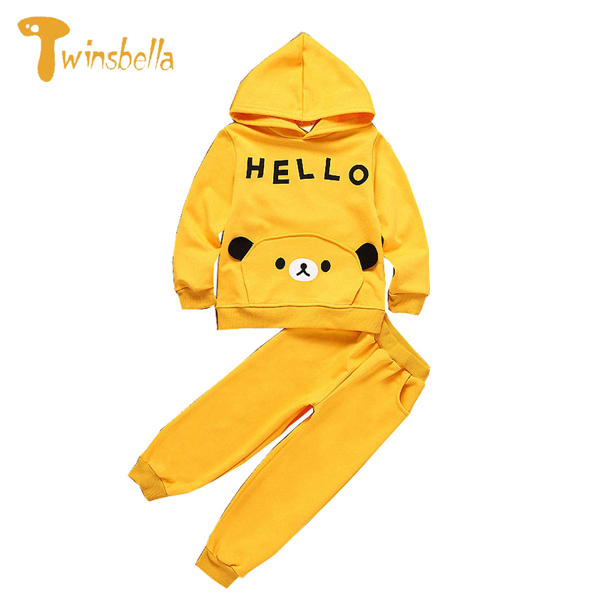TWINSBELLA Boy Clothing Sets 2017 New Spring Children Cartoon Solid Hooded Shirt +Pant Kids 2PCS Cotton Clothes Sets For Boys<br><br>Aliexpress