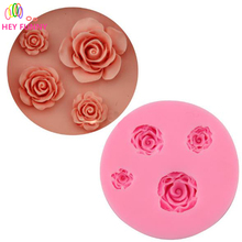 1pc 4 hold Flower Rose Silicone Fondant Soap 3D Cake Mold Cupcake Jelly Candy Sugar Chocolate Decoration(China)