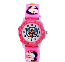 Hot selling Doraemon cartoon watch for children cute fashion leather strap quartz wristwatch boys girls best gift clock pink