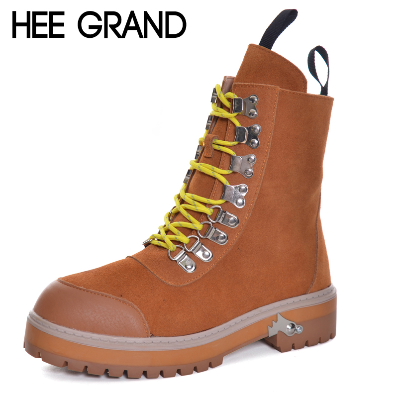 HEE GRAND Metal Decoration Motorcycle Boots Round Toe Ankle Fashion Boots Medium Thick Heel Women Winter Boots XWX6120<br>