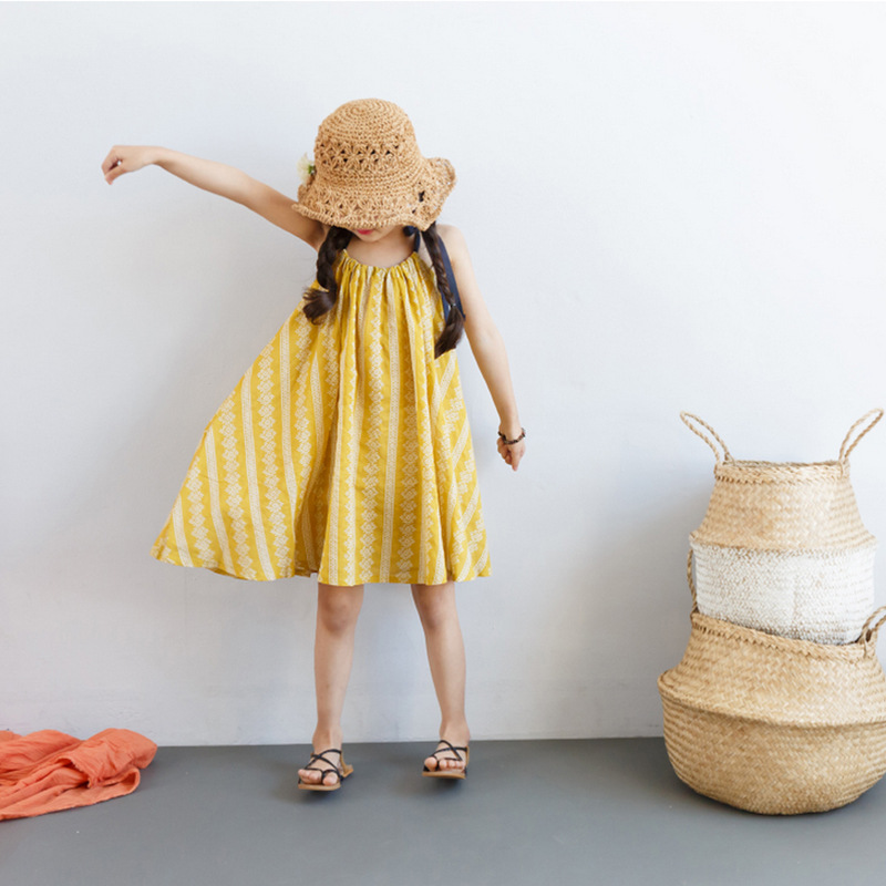 2018 Baby Girls Sleeveless Cute Fashion Dress Mustard Floral Clothes for Little Princess Sisetrs Age 3456789 10 11 12 Years Old<br>