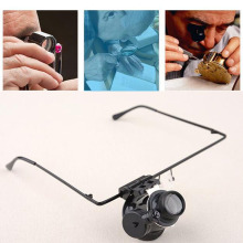Wearing monocle magnifier Eyewear Style 20X Magnifier with LED Light For Watch Repair Jewelry Identify magnify