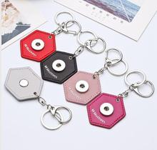 2017 Wholesale Fashion Key Holder Jewelry Mixed Geometric Leather Keychain 18mm Snap Button Keyring For Wen Chaveiro Brelok