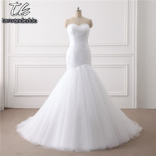 New Arrival Ruched Tulle Mermaid Wedding Dress Lace Up White/Ivory Marry Dresses Bridal Dresses Hot Sale In Stock(China)