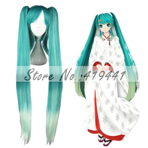 Free Shipping 120cm Long straight VOCALOID Miku Cosplay Hair Wigs Blue Mixed Synthetic Anime Ponytails Wig<br><br>Aliexpress