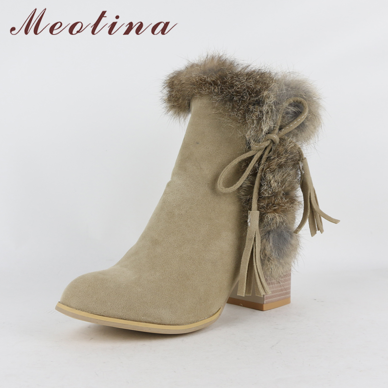 9423acb0633 Meotina Women Ankle Boots Winter High Heels Fur Bow Thick Heels Short Boots  Zipper Ladies Autumn Shoes Big Size 34-43 Black Gray
