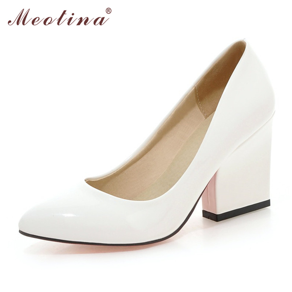 Meotina Shoes Women Party White Wedding Shoes Patent Leather High Heels Pointed Toe Thick High Heels Ladies Shoes Big Size 9 10<br><br>Aliexpress