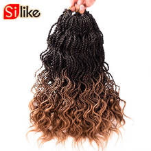 Silike 35 Strands Curly Senegalese Twist Crochet Braids 14 inch Synthetic Ombre Crochet Braiding Hair Extensions 6 packs/lot(China)