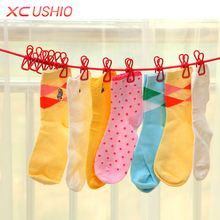 Outdoor Camping Elastic Washing Line With 12 Clips Travel Portable Retractable Clothesline Home Socks Underwear Clothes Hanger(China)