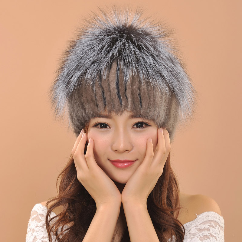 Luxury Quality Mink fur hats fashion women Knitted caps winter warm girl hats Decoration fox hair bulbОдежда и ак�е��уары<br><br><br>Aliexpress
