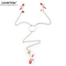 Buy Loverkiss Metal Nipple Clamps + Labia Clips Clamp Bell Adult Games Slave Sex Fetish Bondage Erotic Toys Products 201202048