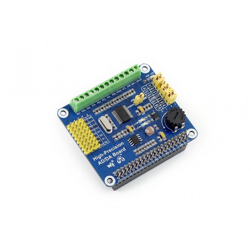 module Waveshare High-Precision AD/DA Board Raspberry Pi AD/DA Expansion Add High-precision AD/DA Functions to the RPi 3 B/2 B /<br>