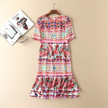 Italy style high-waist dress 2017 Summer Runway floral printed fishtail dress woman's chic half sleeve dress S-XL size