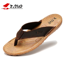 Men's flip flops Genuine leather Slippers Summer fashion beach sandals shoes for men plus size Eur :38-47 pantufa Hot Sell