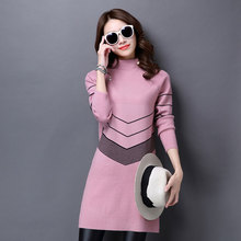Women Autumn and Winter Dress New 2017 Women's Wool Knitted Large Size Long-sleeve One-piece Warm Cashmere Sweater Dress(China)