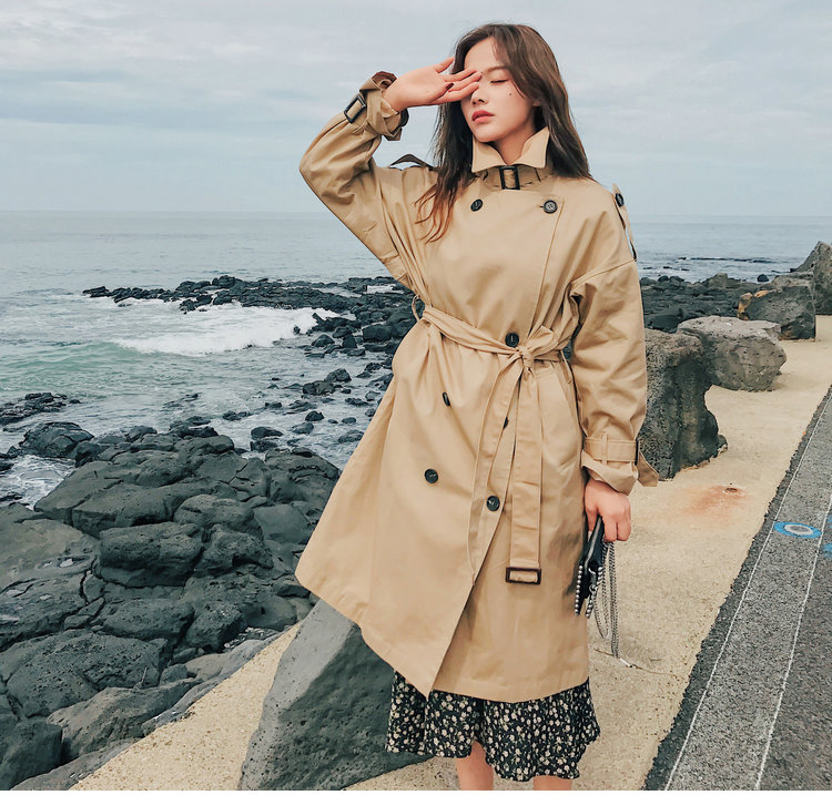 19 Fashion Brand New Women Trench Coat Long Double-Breasted Belt Khaki Office Lady Clothing Autumn Spring Outerwear Quality 18
