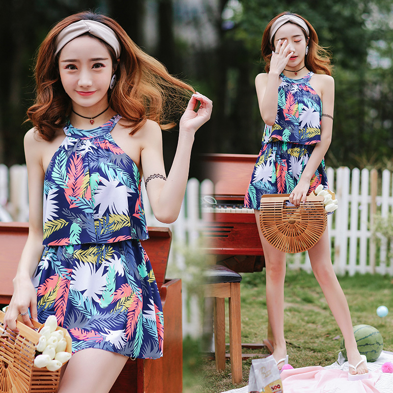 2018 New Sexy Floral One Piece Swimsuit Skirt Woman High Neck Swimwear Cut Out Backless Beach Dress <br>