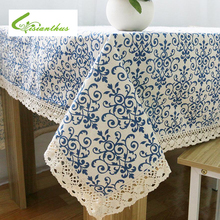 Retro Blue and White Table Cloth with Lace Edge Cotton Print Mondern Style Rectangular Dinning Tablecloths Cover Home Decor 1PCS(China)