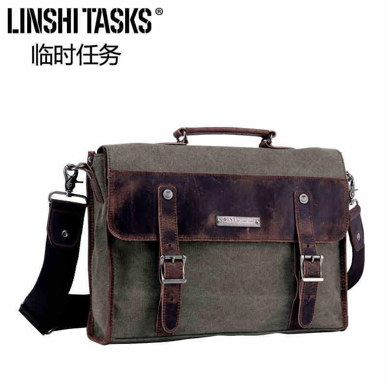 Brand men Canvas+Cowhide Leather messenger bag casual portable document canvas bag man bag 14 tablet messenger bag<br><br>Aliexpress