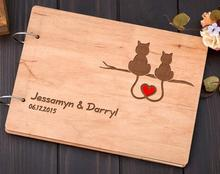 personalized names cats alternative Rustic wedding guest album book engraved Wooden guestbooks Reception party decorations