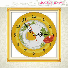 Fruit tray clock face painting counted DMC 11CT 14CT kits Cross Stitch embroidery needlework Sets Hot sale Wholesale