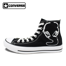 Black Converse All Star Custom Shoes Earphone Microphone Original Design Hand Painted Sneakers Men Women Canvas Shoes(China)