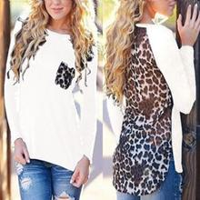 2017 Spring Loose Plus Size Leopard Chiffon Blouse for Women Lady Long Sleeve Blouse Casual Tops Sexy Blusas Shirts(China)